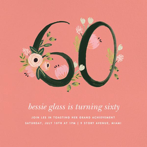 Botanic Numerals (Sixty) - Pink - Rifle Paper Co. - Milestone