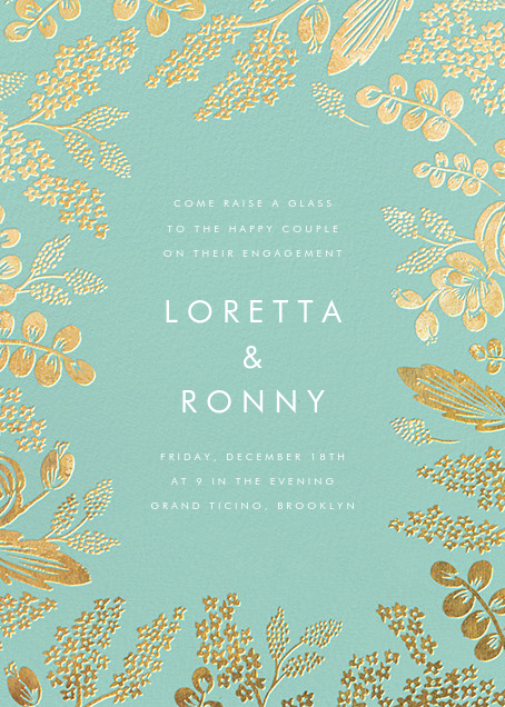 Heather and Lace - Celadon/Gold - Rifle Paper Co. - Engagement party