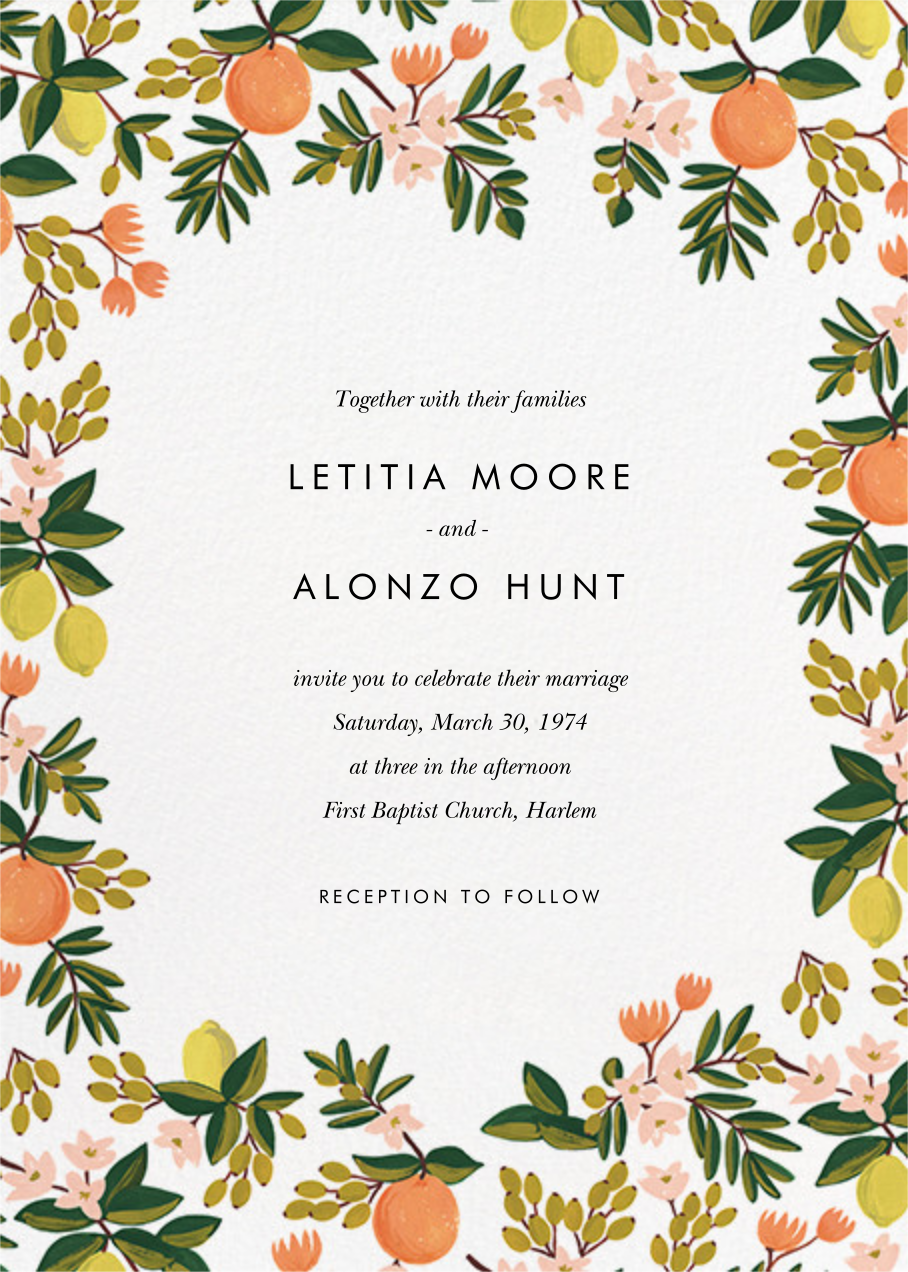 Citrus Orchard Suite (Invitation) - White - Rifle Paper Co.