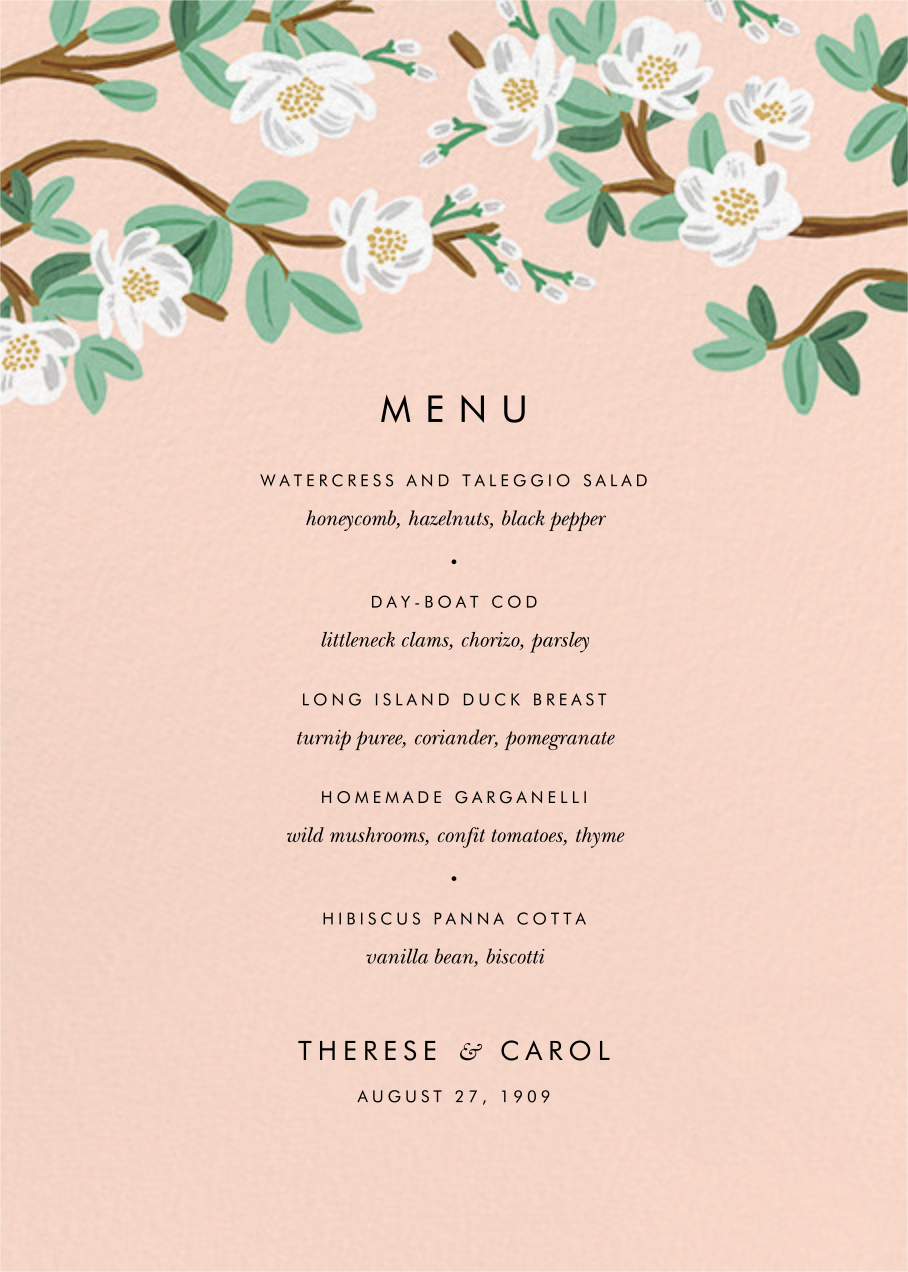 Tea Tree (Menu) - Peach - Rifle Paper Co. - Menus and programs