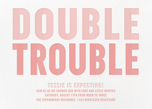 Double Trouble - Pink - Paperless Post - Baby shower