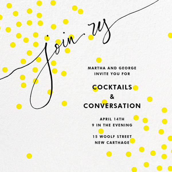 Join Us (Dots) - Yellow/Black - Linda and Harriett - Cocktail party