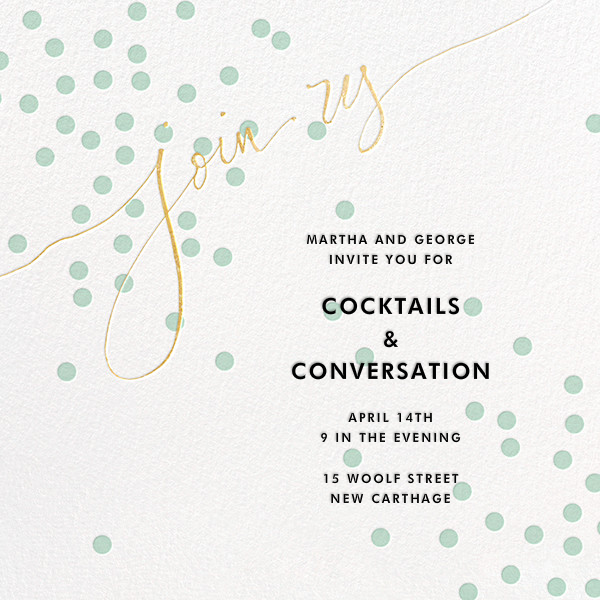 Join Us (Dots) - Mint/Gold - Linda and Harriett - General entertaining