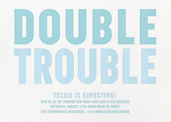 Double Trouble - Blue - Paperless Post - Baby shower
