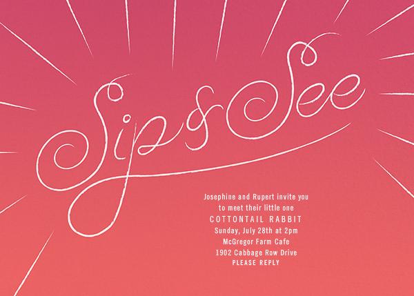 Script Sip - Pink - Paperless Post - Baby shower