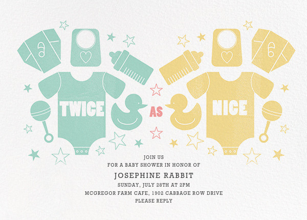 Twice as Nice - Mint/Yellow - Paperless Post - Baby shower