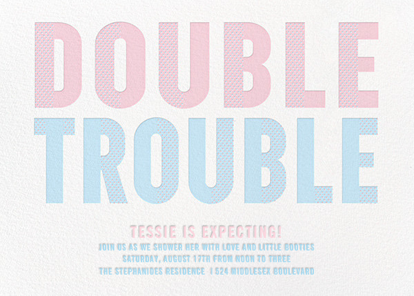 Double Trouble - Pink/Blue - Paperless Post - Baby shower