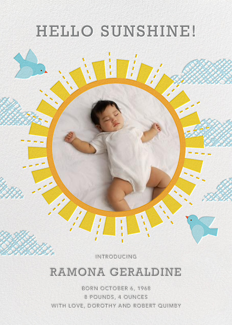 You Are My Sunshine - Petit Collage - Baby boy announcements