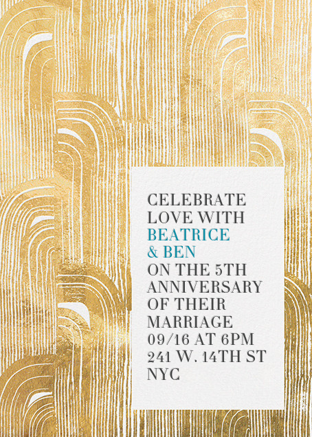 Plume - Gold - Kelly Wearstler - 50th wedding anniversary invitations