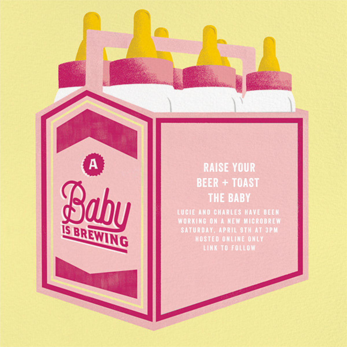 Bottles Up - Hot Pink - Paperless Post - Baby shower