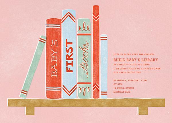 Baby's Bookshelf - Pink - Paperless Post - Baby shower