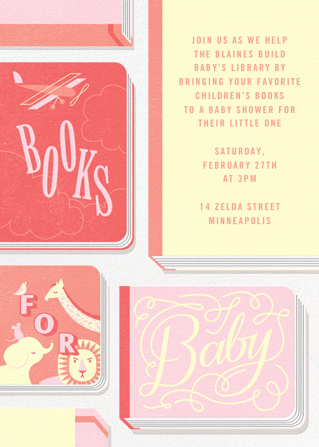 Little Library - Pink - Paperless Post - Baby shower