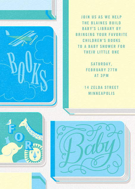 Little Library - Blue - Paperless Post - Baby shower