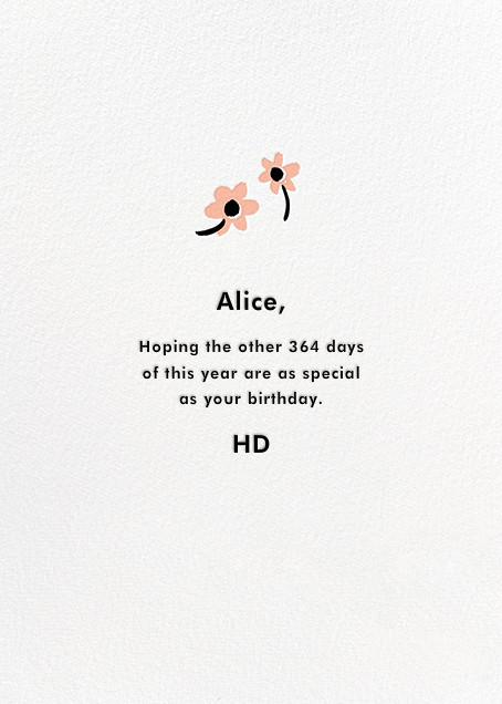 Snail Mail - Hello!Lucky - Birthday - card back