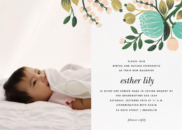 Blue Blooms (Photo) - Rifle Paper Co. - Baby naming and bris