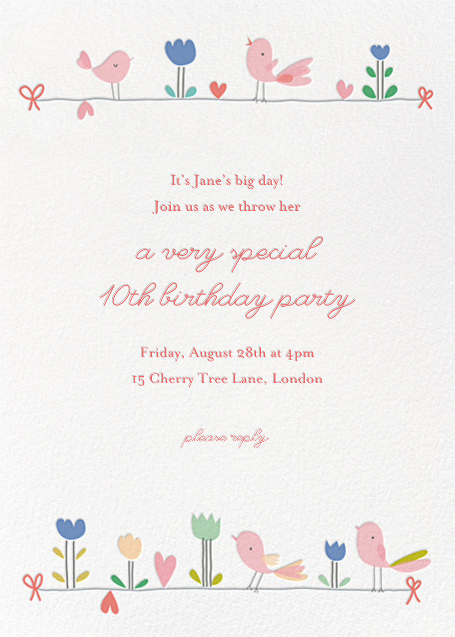 Birdie and Friends (Invitation) - Little Cube - Kids' birthday
