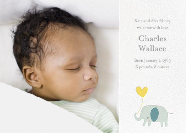 Ellie's Balloon (Photo) - Yellow - Little Cube - Baby boy announcements