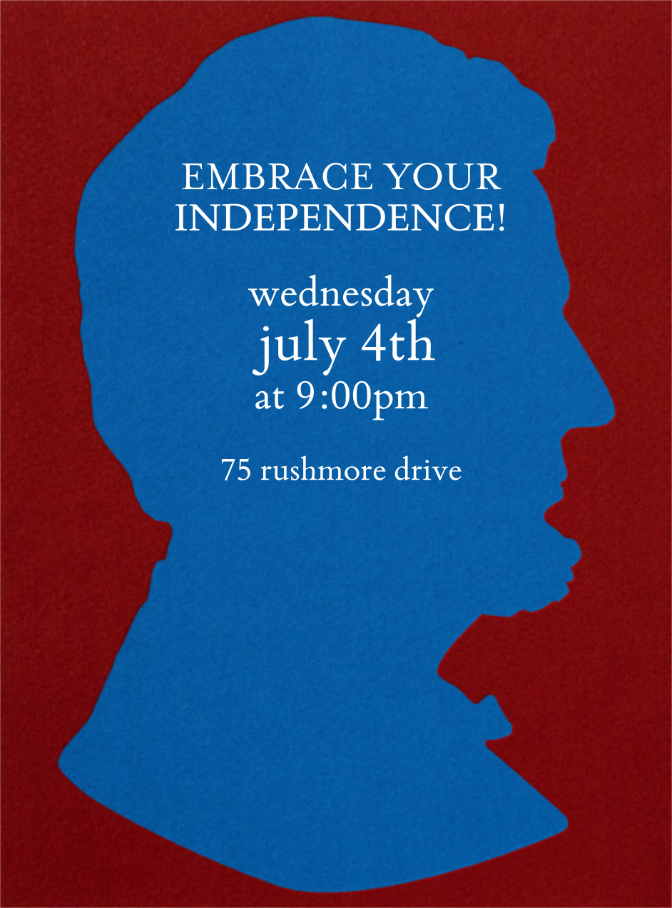 Lincoln Silhouette - Blue - Paperless Post - 4th of July