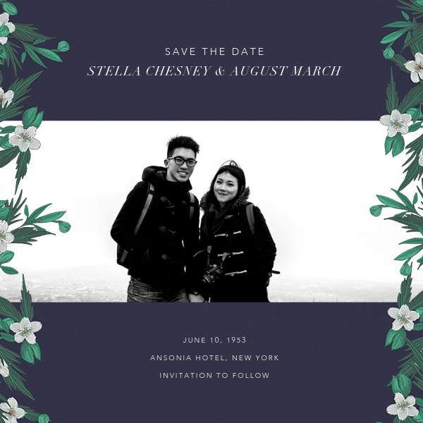 Snowrose Hedge (Photo Save the Date) - Navy - Paperless Post