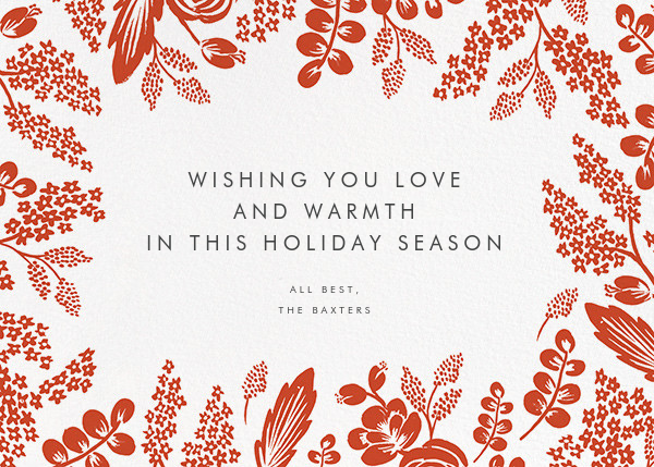 Heather and Lace (Horizontal Frame) - Gold/Red - Rifle Paper Co. - Holiday cards - card back