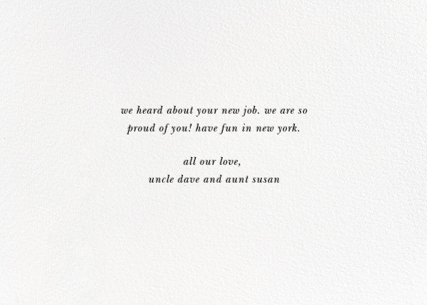 New Job - kate spade new york - Congratulations - card back