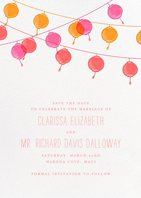 Lanterns (Save the Date) - Sherbert - Paperless Post - Save the date