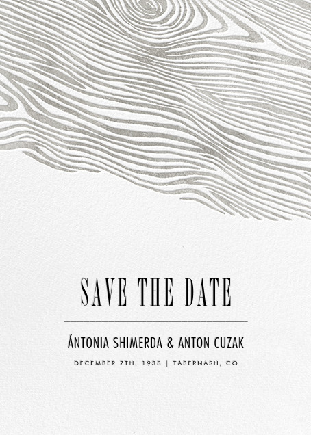 Burlwood II (Tall Save the Date) - Silver - Paperless Post - Party save the dates