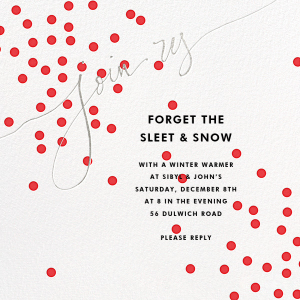 Join Us (Dots) - Red/Silver - Linda and Harriett - Winter entertaining