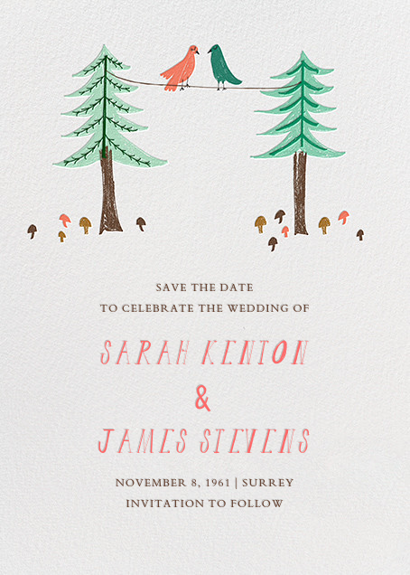 Love Birds On A Wire - Mr. Boddington's Studio - Save the date