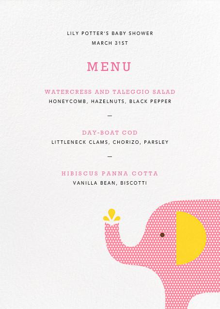 Modern Elephant (Menu) - Pink - Petit Collage - null