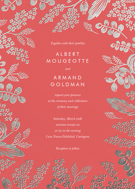 Heather and Lace (Invitation) - Coral/Silver - Rifle Paper Co. - All