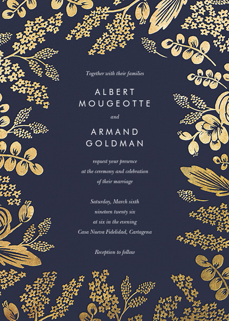 Heather and Lace (Invitation) - Navy/Gold - Rifle Paper Co. - All