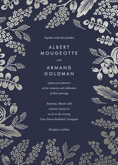 Heather and Lace (Invitation) - Navy/Silver - Rifle Paper Co. - All