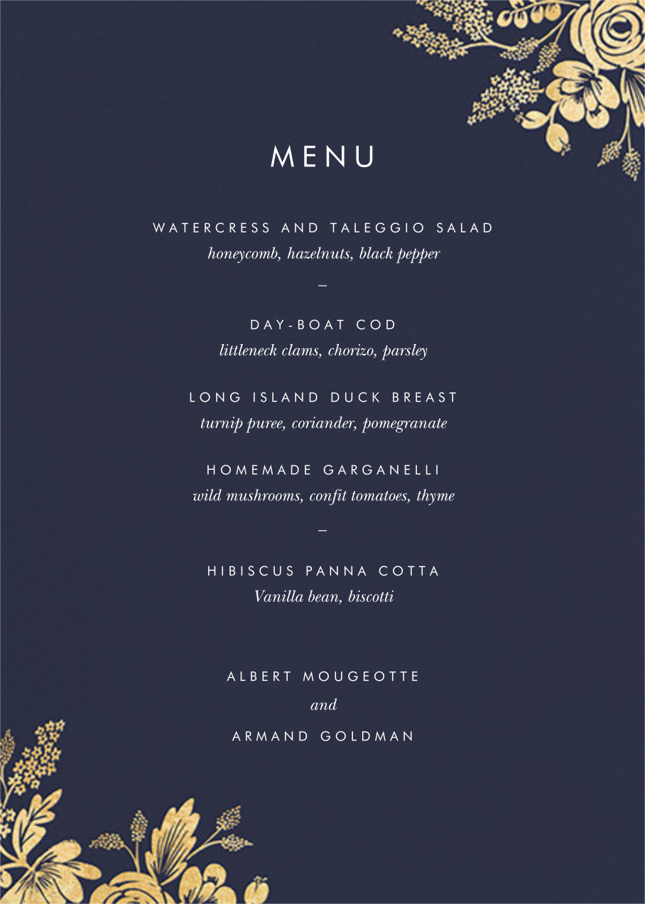 Heather and Lace (Menu) - Navy/Gold - Rifle Paper Co. - Menus