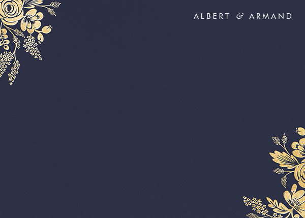Heather and Lace (Stationery) - Navy/Gold - Rifle Paper Co. - Personalized stationery