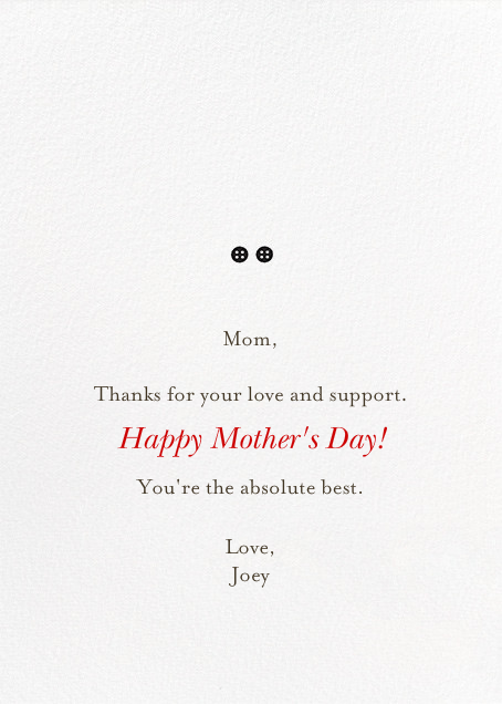 Mom and Me (Blanca Gomez) - Red Cap Cards - Mother's Day - card back