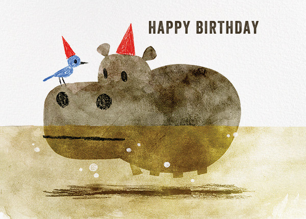 Bird and Hippo (Chris Sasaki) - Red Cap Cards - Birthday