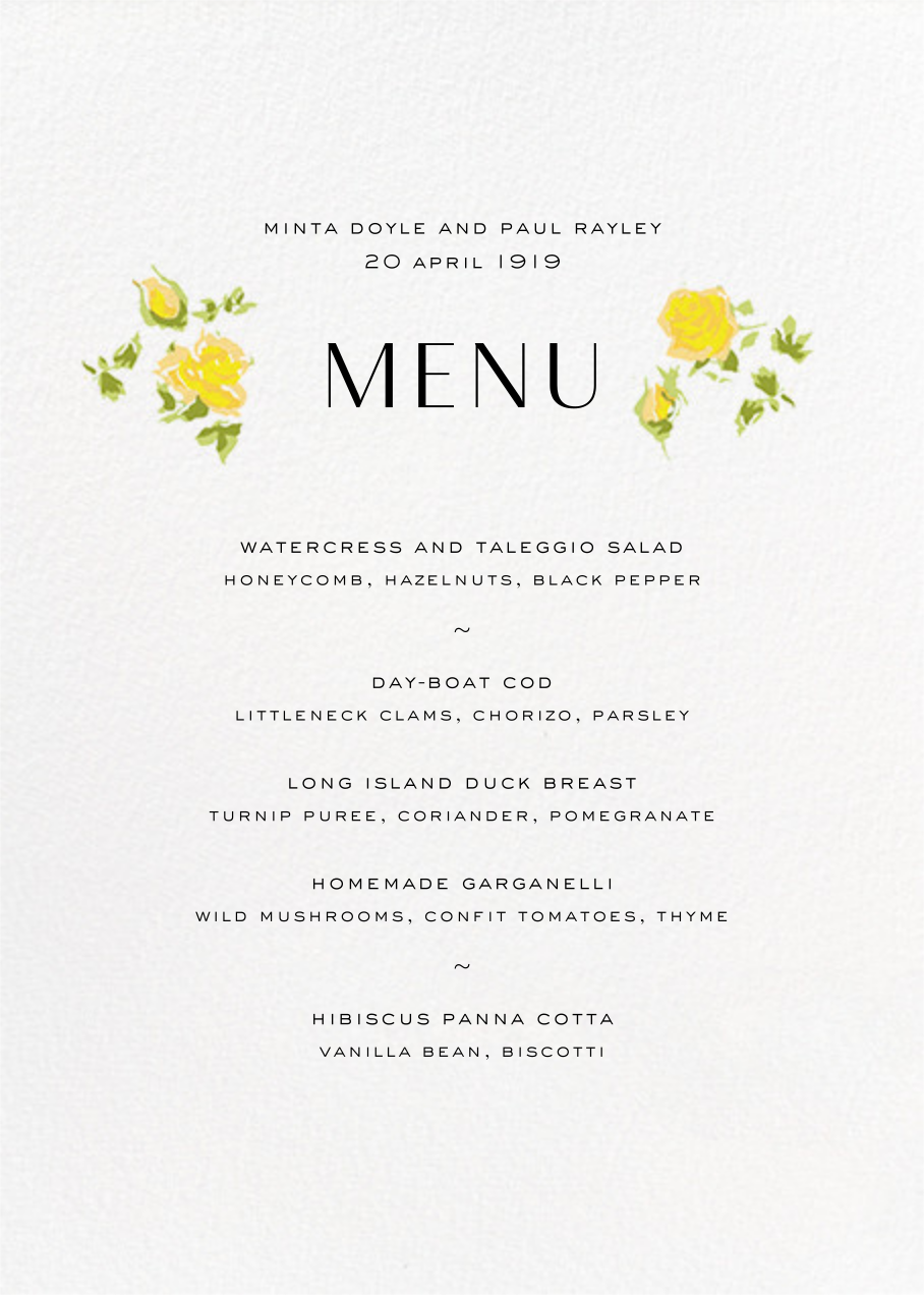 Ricardo's Bloom (Menu) - Yellow - Liberty - Menus