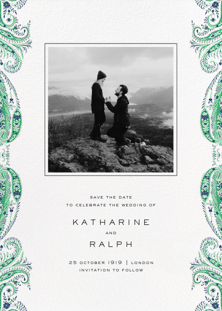 Felix and Isabelle (Photo Save the Date) - Green - Liberty