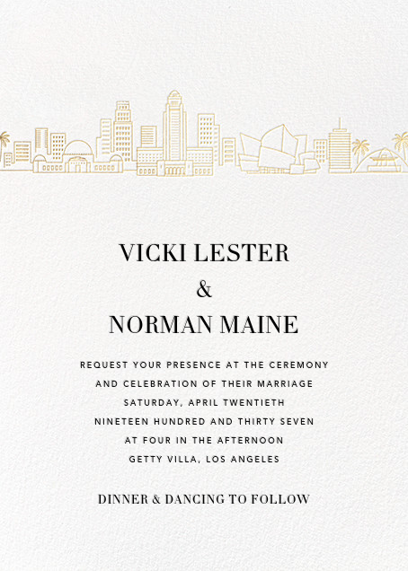 L.A. Skyline View (Invitation) - White/Gold - Paperless Post