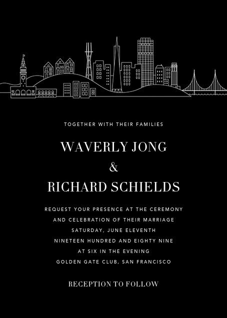 San Francisco Skyline View (Invitation) - Black/White - Paperless Post - All