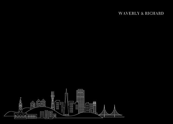San Francisco Skyline View (Stationery) - Black/White - Paperless Post