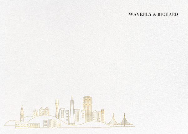 San Francisco Skyline View (Stationery) - White/Gold - Paperless Post