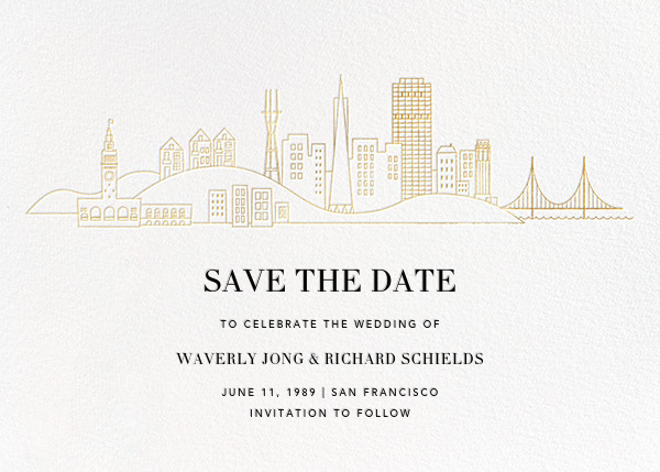 San Francisco Skyline View (Save the Date) - White/Gold - Paperless Post - Save the date
