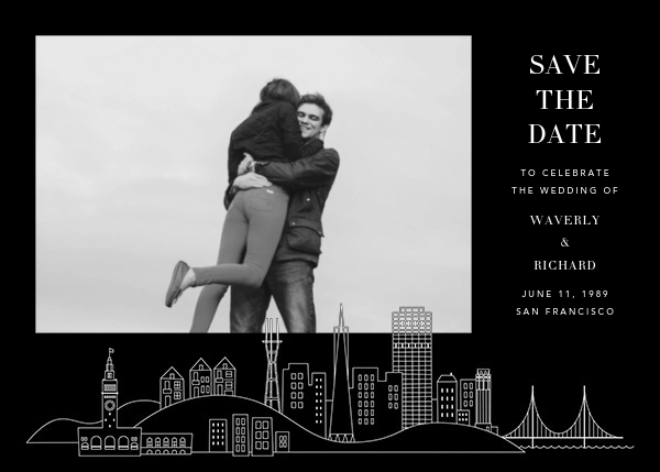 San Francisco Skyline View (Photo Save the Date) - Black/White - Paperless Post