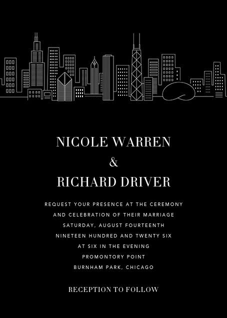 Chicago Skyline View (Invitation) - Black/White - Paperless Post