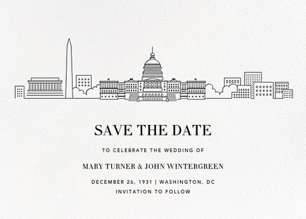D.C. Skyline View (Save the Date) - White/Black - Paperless Post - Save the date