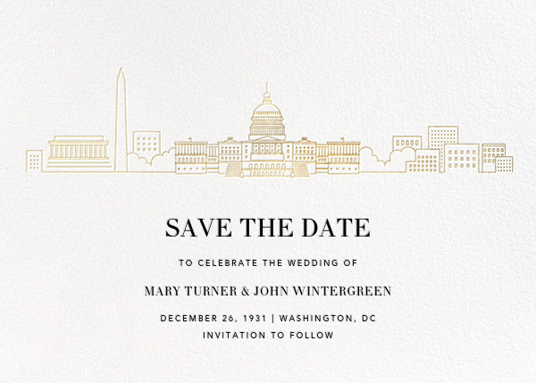 D.C. Skyline View (Save the Date) - White/Gold - Paperless Post - Save the date