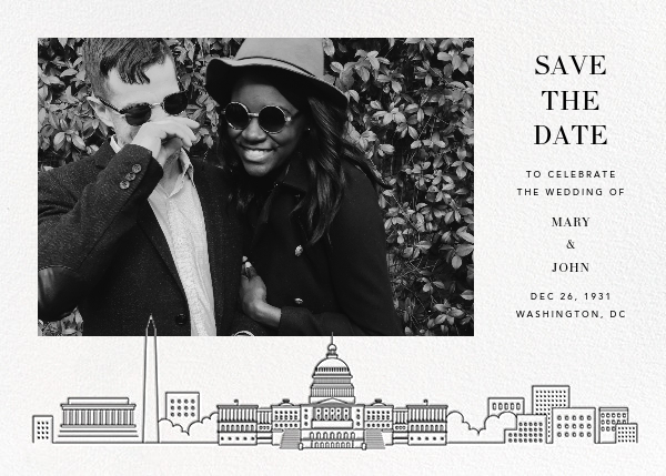 D.C. Skyline View (Photo Save the Date) - White/Black - Paperless Post