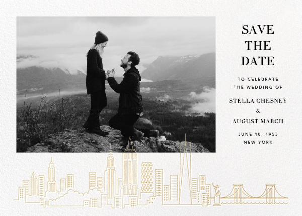 Manhattan Skyline View (Photo Save the Date) - White/Gold - Paperless Post - Photo